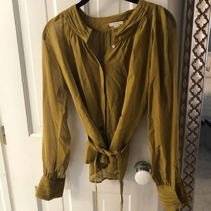 J. Crew sheer blouse with waist tie